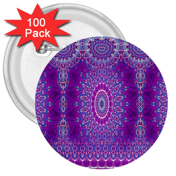 India Ornaments Mandala Pillar Blue Violet 3  Buttons (100 pack)