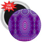 India Ornaments Mandala Pillar Blue Violet 3  Magnets (100 pack) Front