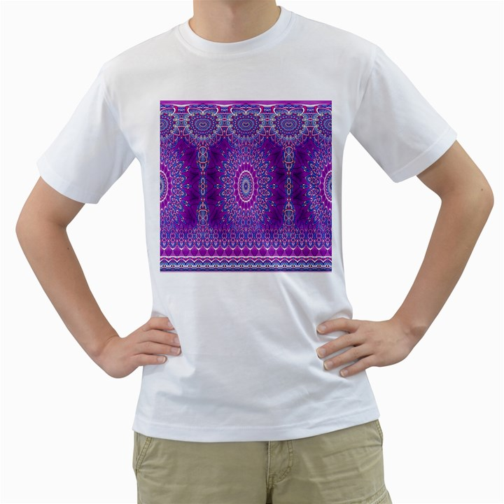 India Ornaments Mandala Pillar Blue Violet Men s T-Shirt (White) (Two Sided)