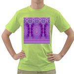 India Ornaments Mandala Pillar Blue Violet Green T-Shirt Front