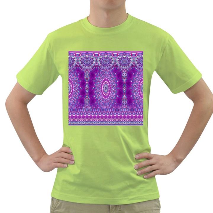 India Ornaments Mandala Pillar Blue Violet Green T-Shirt
