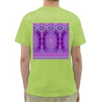 India Ornaments Mandala Pillar Blue Violet Green T-Shirt Back