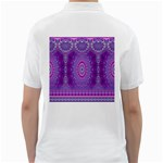 India Ornaments Mandala Pillar Blue Violet Golf Shirts Back