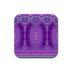 India Ornaments Mandala Pillar Blue Violet Rubber Square Coaster (4 pack)  Front