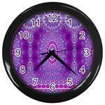 India Ornaments Mandala Pillar Blue Violet Wall Clocks (Black) Front