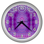 India Ornaments Mandala Pillar Blue Violet Wall Clocks (Silver)  Front