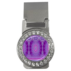 India Ornaments Mandala Pillar Blue Violet Money Clips (CZ)