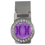 India Ornaments Mandala Pillar Blue Violet Money Clips (CZ)  Front