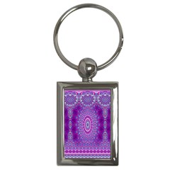 India Ornaments Mandala Pillar Blue Violet Key Chains (Rectangle)