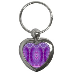 India Ornaments Mandala Pillar Blue Violet Key Chains (Heart)