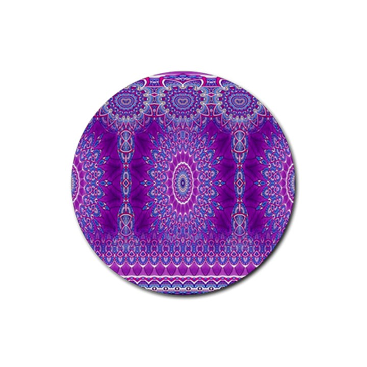 India Ornaments Mandala Pillar Blue Violet Rubber Coaster (Round)