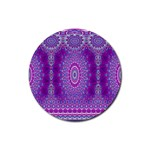 India Ornaments Mandala Pillar Blue Violet Rubber Round Coaster (4 pack)  Front