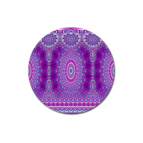 India Ornaments Mandala Pillar Blue Violet Magnet 3  (Round)