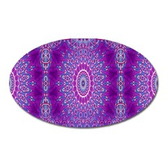 India Ornaments Mandala Pillar Blue Violet Oval Magnet