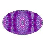 India Ornaments Mandala Pillar Blue Violet Oval Magnet Front