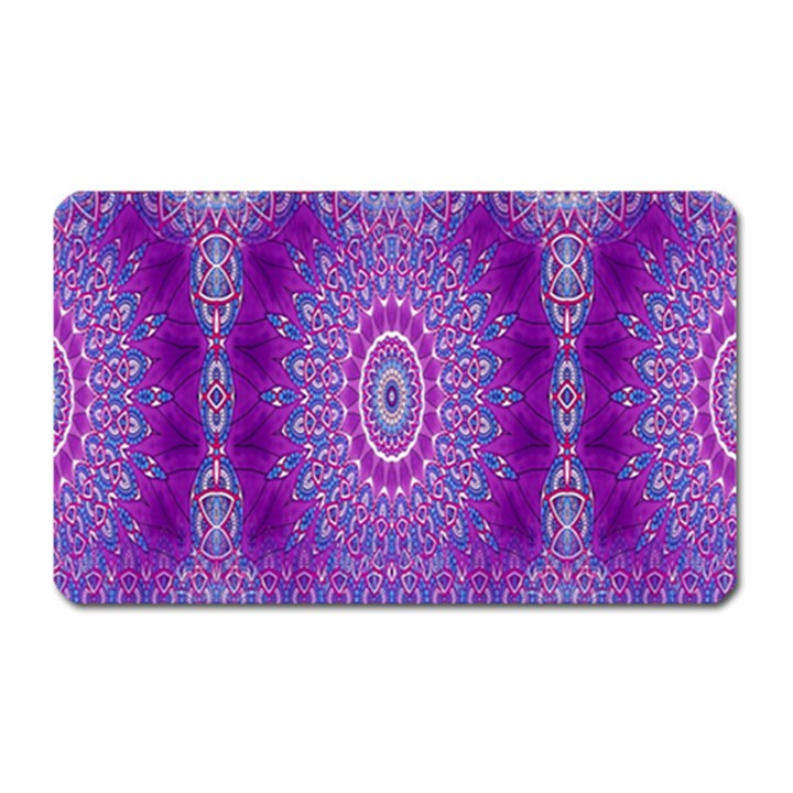 India Ornaments Mandala Pillar Blue Violet Magnet (Rectangular)