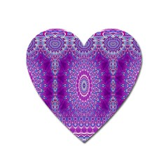India Ornaments Mandala Pillar Blue Violet Heart Magnet