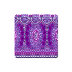 India Ornaments Mandala Pillar Blue Violet Square Magnet