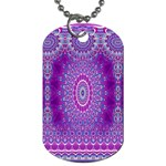 India Ornaments Mandala Pillar Blue Violet Dog Tag (Two Sides) Front