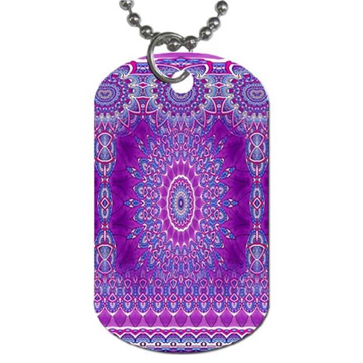 India Ornaments Mandala Pillar Blue Violet Dog Tag (Two Sides)