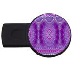 India Ornaments Mandala Pillar Blue Violet USB Flash Drive Round (2 GB)  Front