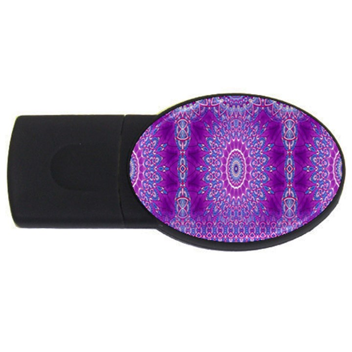 India Ornaments Mandala Pillar Blue Violet USB Flash Drive Oval (1 GB)