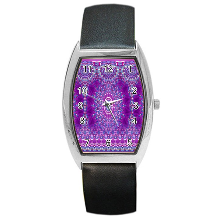 India Ornaments Mandala Pillar Blue Violet Barrel Style Metal Watch