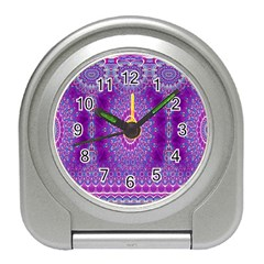 India Ornaments Mandala Pillar Blue Violet Travel Alarm Clocks