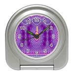 India Ornaments Mandala Pillar Blue Violet Travel Alarm Clocks Front
