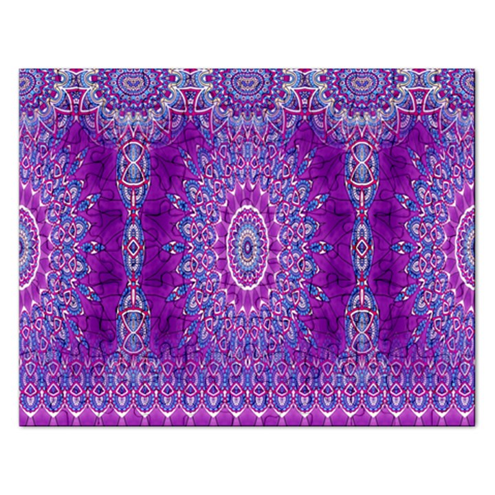 India Ornaments Mandala Pillar Blue Violet Rectangular Jigsaw Puzzl