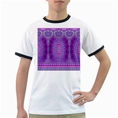 India Ornaments Mandala Pillar Blue Violet Ringer T-Shirts