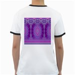 India Ornaments Mandala Pillar Blue Violet Ringer T-Shirts Back