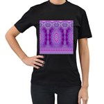 India Ornaments Mandala Pillar Blue Violet Women s T-Shirt (Black) (Two Sided) Front