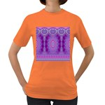 India Ornaments Mandala Pillar Blue Violet Women s Dark T-Shirt Front