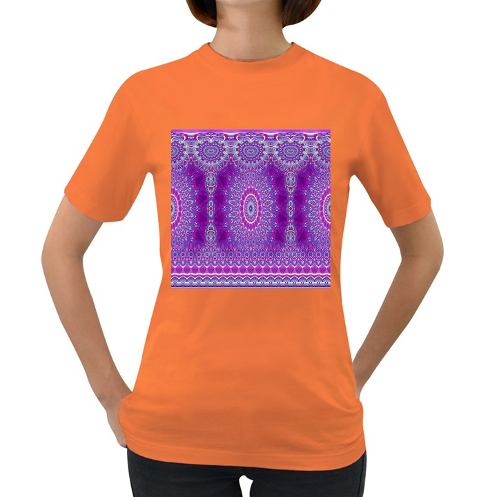 India Ornaments Mandala Pillar Blue Violet Women s Dark T-Shirt