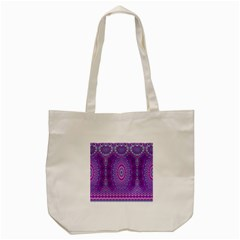 India Ornaments Mandala Pillar Blue Violet Tote Bag (Cream)