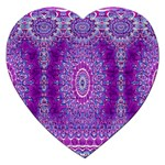 India Ornaments Mandala Pillar Blue Violet Jigsaw Puzzle (Heart) Front