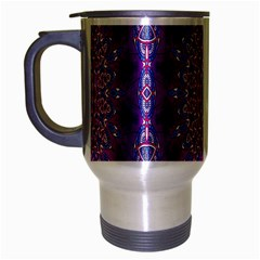 India Ornaments Mandala Pillar Blue Violet Travel Mug (Silver Gray)