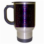 India Ornaments Mandala Pillar Blue Violet Travel Mug (Silver Gray) Left