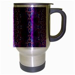 India Ornaments Mandala Pillar Blue Violet Travel Mug (Silver Gray) Right