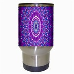 India Ornaments Mandala Pillar Blue Violet Travel Mugs (White) Center