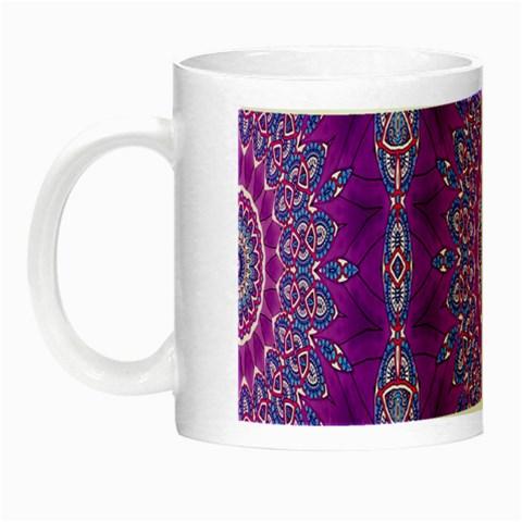 India Ornaments Mandala Pillar Blue Violet Night Luminous Mugs