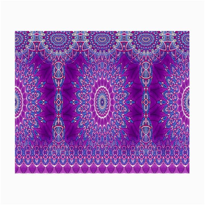 India Ornaments Mandala Pillar Blue Violet Small Glasses Cloth