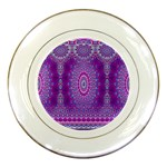 India Ornaments Mandala Pillar Blue Violet Porcelain Plates Front