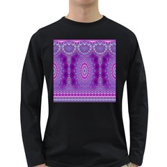 India Ornaments Mandala Pillar Blue Violet Long Sleeve Dark T-Shirts
