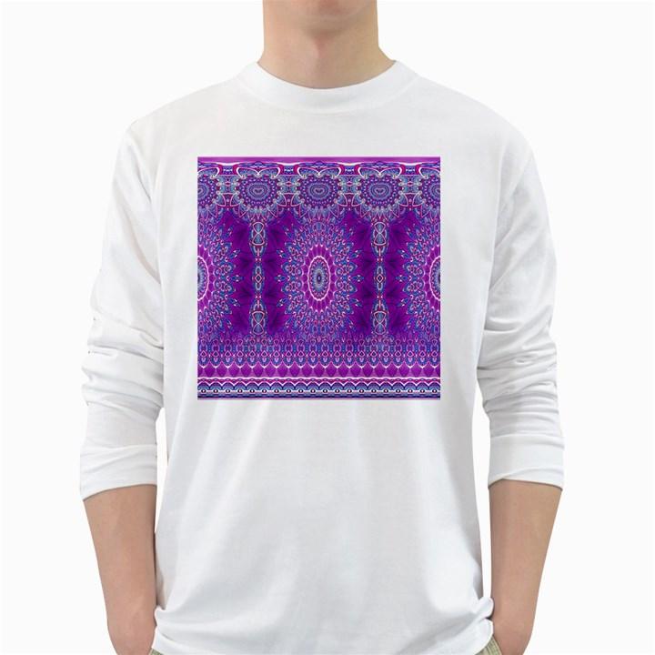 India Ornaments Mandala Pillar Blue Violet White Long Sleeve T-Shirts