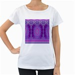 India Ornaments Mandala Pillar Blue Violet Women s Loose-Fit T-Shirt (White) Front