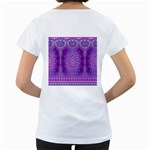 India Ornaments Mandala Pillar Blue Violet Women s Loose-Fit T-Shirt (White) Back
