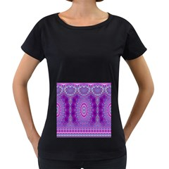 India Ornaments Mandala Pillar Blue Violet Women s Loose-Fit T-Shirt (Black)