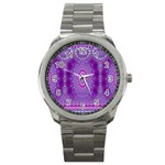 India Ornaments Mandala Pillar Blue Violet Sport Metal Watch Front